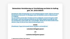 Mustervertrag zur Auftragsverarbeitung nach DSGVO (RTF-Dokument)